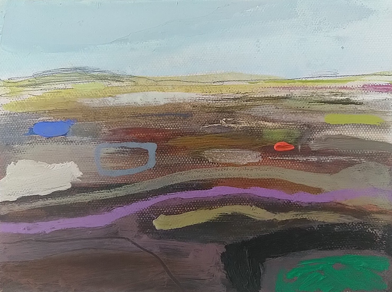Moorland, oil & pencil, 15x20cm