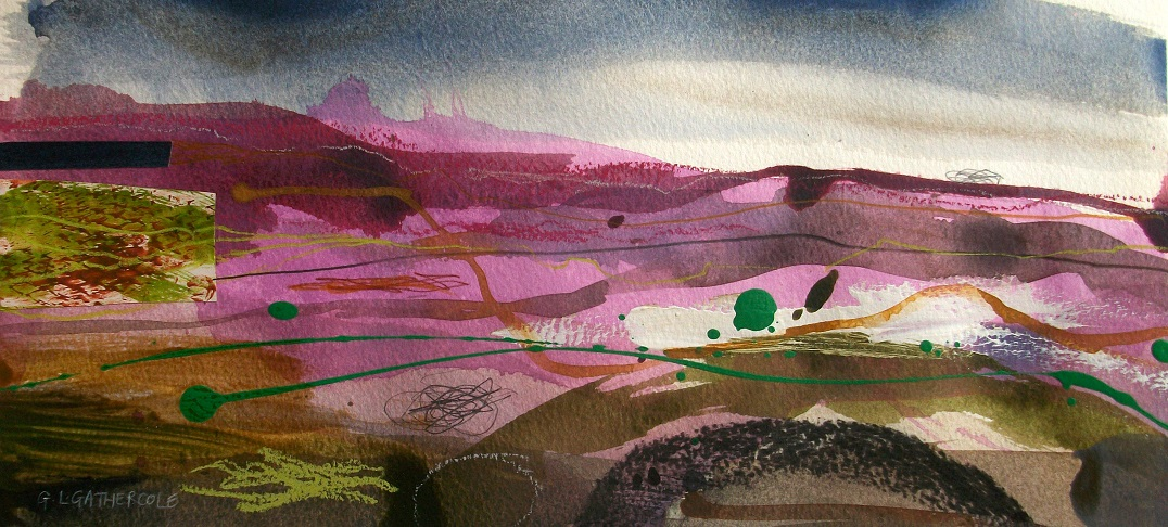 Summer Heather 4, mixed media 15x34cm £125