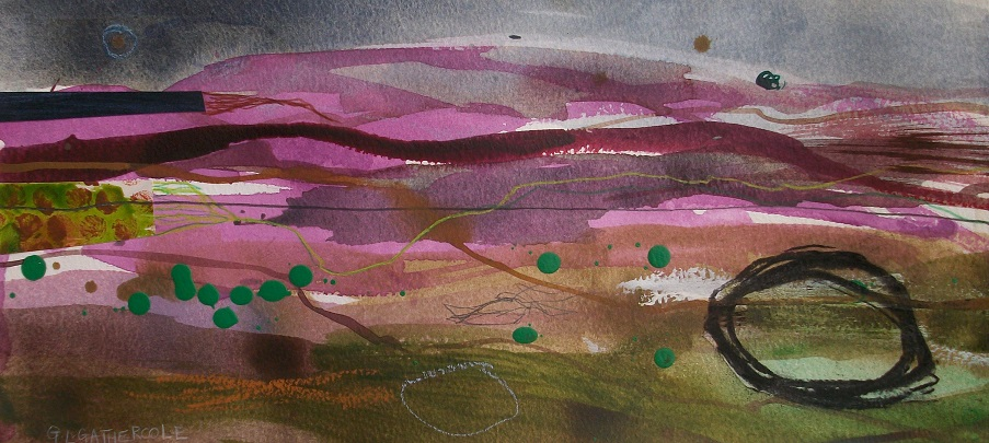 Summer Heather 5, mixed media 15x34cm £125