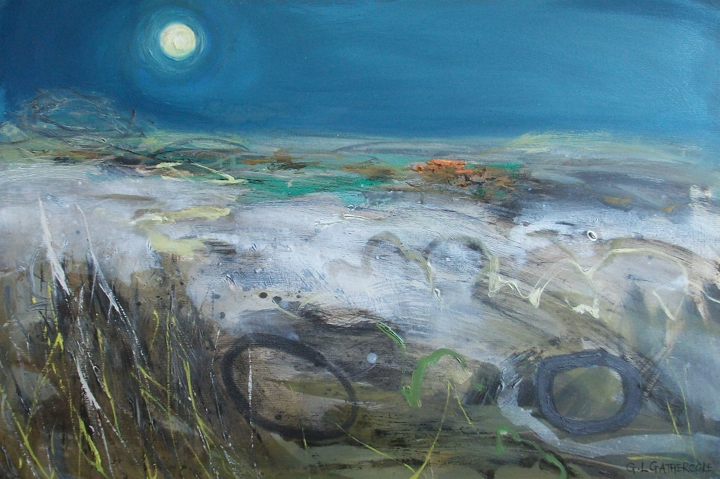 Winter's Night over the Moors, oil, 51x76cm
