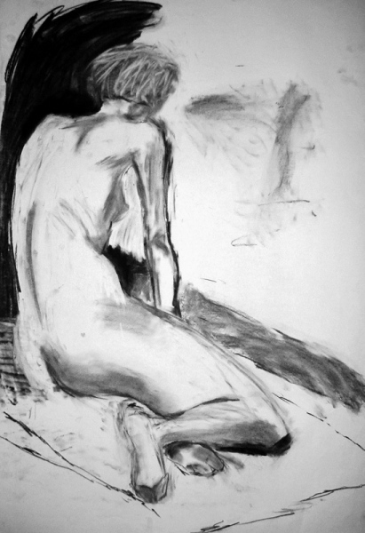 'Female nude', charcoal, 84x59cm