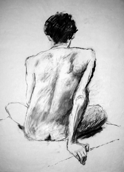 'Male Nude from back' charcoal, 84x59cm