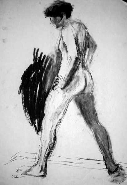 'Male nude standing', charcoal, 84x59cm
