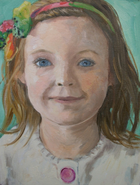 'Portrait of a little girl', oil