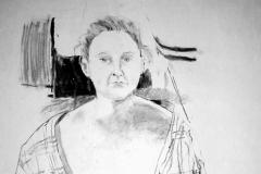 'Female nude' charcoal, 84x59cm
