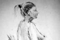 'Female nude standing', charcoal, 59x42cm