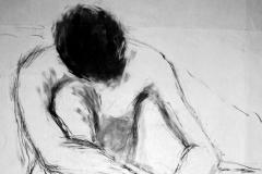 'Male nude sitting', charcoal, 69x51cm