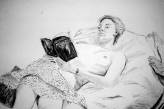 'Nude girl with a book', charcoal, 84x59cm
