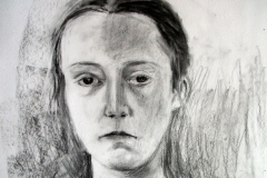 'Portrait of a young woman', Charcoal