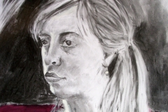 'Portrait of a young woman', mixed media