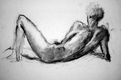 'Reclining male nude', charcoal, 84x59cm