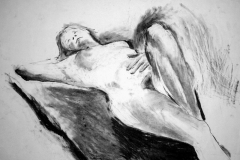 'Reclining nude', charcoal, 84 x 59cm