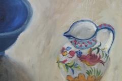 'Blue bowl & little jug', oil, 40X30cm £195