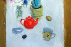 'Red teapot & Cactus', oil, 60x60cm £420