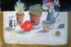 'Red teapot & Muscari', oil, 50x70cm £420