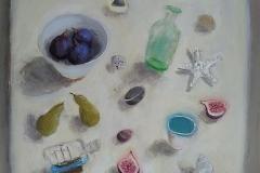 'The Green Bottle & Figs' oil 60x60cm